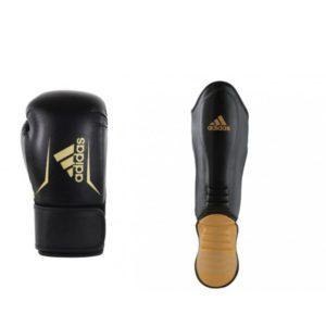 Bundel Adidas speed 100 zwart/goud scheenbeschermers en kickbokshandschoenen
