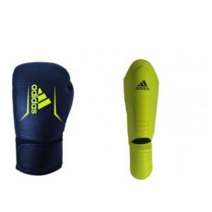 Bundel Adidas speed 175 blauw/geel scheenbeschermers en kickbokshandschoenen