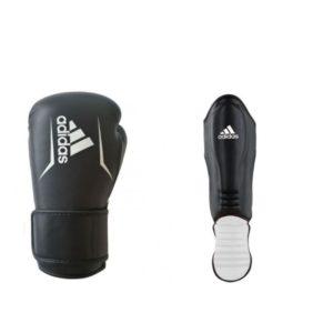 Bundel Adidas speed 175 scheenbeschermers en kickbokshandschoenen