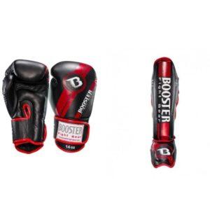 Bundel Booster V3 zwart/rood kickbokshandschoenen en scheenbeschermers