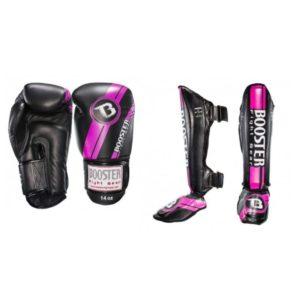 Bundel Booster V3 zwart/roze kickbokshandschoenen en scheenbeschermers