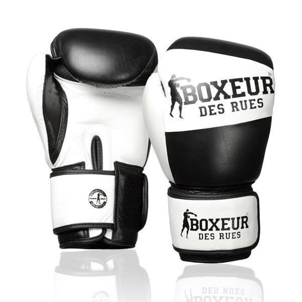 Boxeur des rues premium logo (kick)bokshandschoenen leder zwart