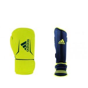 Bundel Adidas speed 100 kickbokshandschoenen en scheenbeschermers geel/blauw