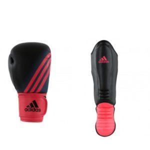 Bundel van Adidas speed 100 kickbokshandschoenen en scheenbeschermers zwart/rood