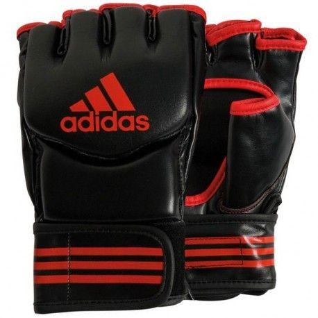 Zwart rode grappling trainings handschoenen maat m van Adidas.