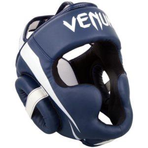 Blauw witte hoofdbeschermer van Venum Elite.