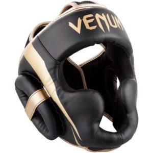 Zwart gouden hoofdbeschermer van Venum Elite.