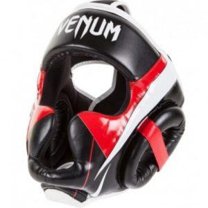 Zwart rood witte hoofdbeschermer van Venum Elite.