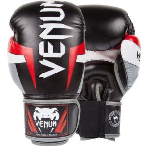 Zwart rood grijzen (kick)bokshandschoenen van Venum Elite.
