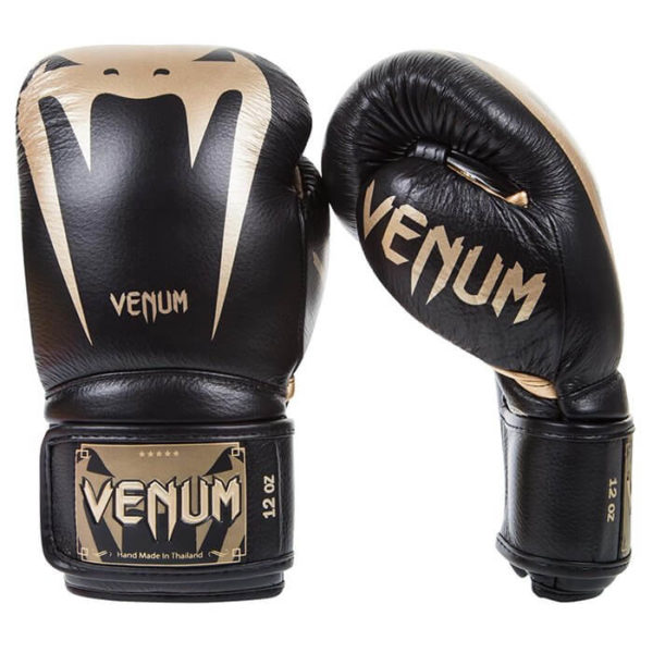 Zwart gouden kickbokshandschoenen van venum