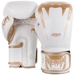 Wit gouden lederen (kick)bokshandschoenen van Venum giant 3.0.