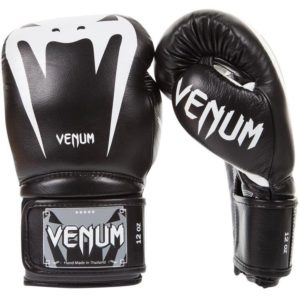 Zwart witte leren (kick)bokshandschoenen van Venum Giant 3.0