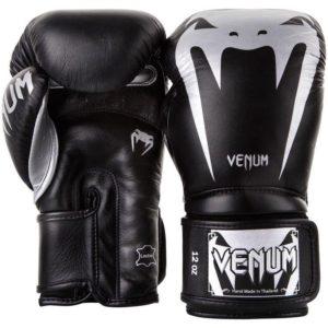 Zwart zilveren leren (kick)bokshandschoenen van Venum giant 3.0.