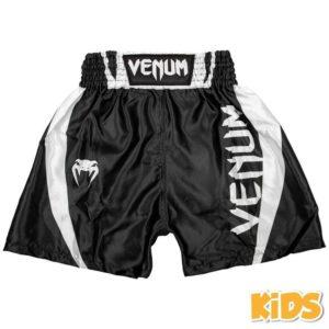 Zwart wit thai- en kickboks broekje voor kinderen van Venum elite.