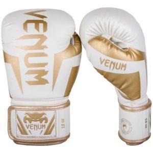 Wit gouden *kick(bokshandschoenen van Venum elite.