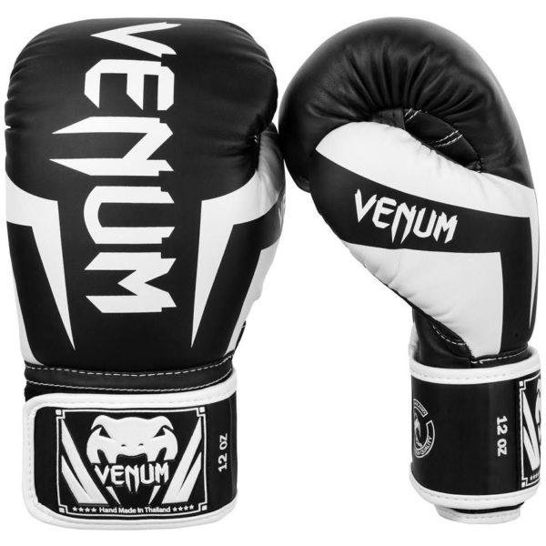 zwart witte (kick)bokshandschoenen van Venum elite