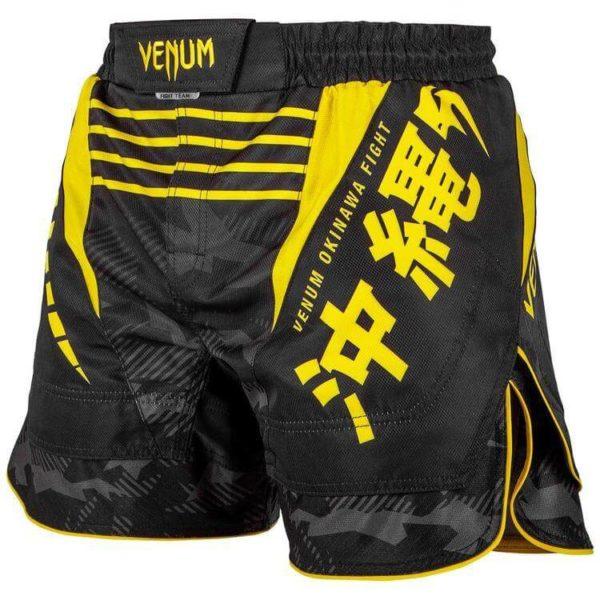 Zwart geel mma fightshort van Venum okinawa 2.0.