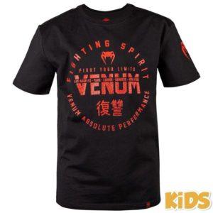 Zwart rood t-shirt voor kids van Venum signature.