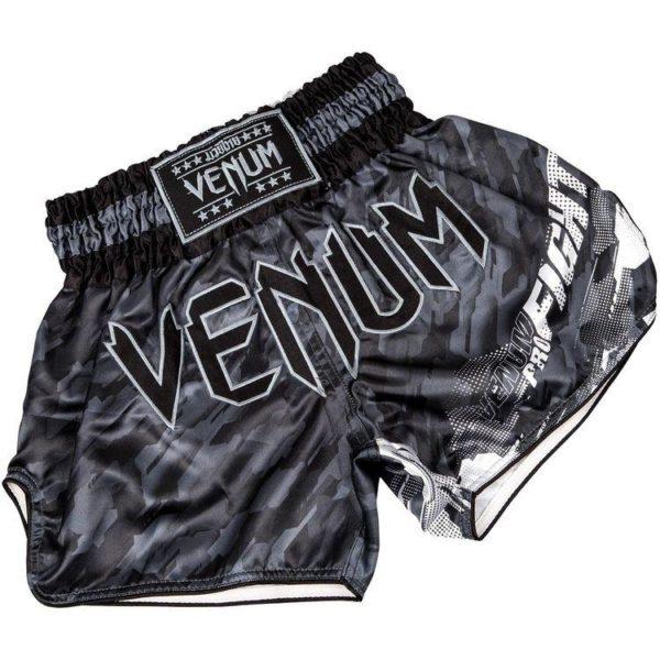 Donkergrijs thai- en kickboksbroekje van Venum tecmo.