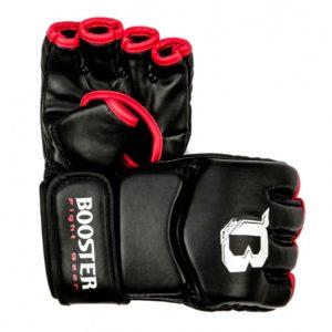 Zwart rode mma grappling handschoenen van Booster.