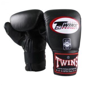 Leren bokszakhandschoenen van Twins.